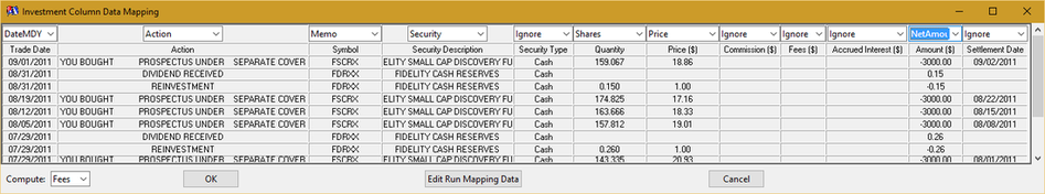 ImportQIF CSVExcel Investment Mapping Documentation QuicknPerlWiz - Data mapping document